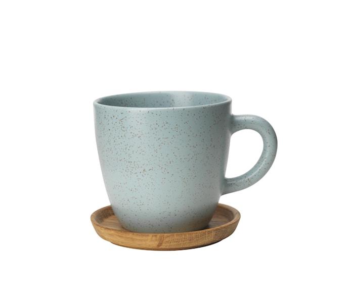 Höganäs Keramik Kaffekrusg 33 cl Med Träfat Frost Matt