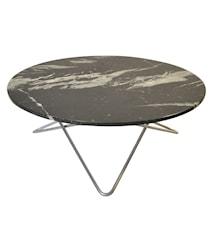 Large O Table Svart Marmor med Rustfri Stålramme Ø100