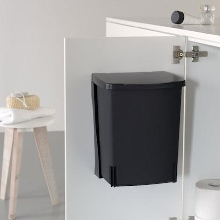 Avfallshink, rektangulär (inkl väggfästen) 10 L Svart