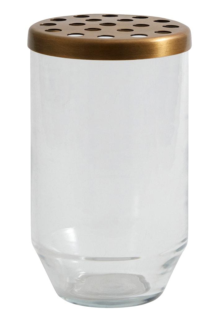 Glasvas metallock 15cm Transparant