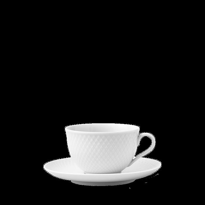 Rhombe Tekopp med fat 22 cl Hvit Porselen