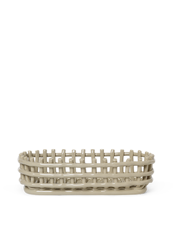 Ceramic Basket Korg Oval Cashmere