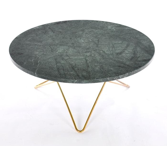 Big O table matbord Green indio/brass