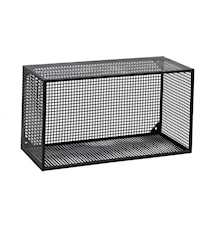Wire Vägghylla rektangulär Svart