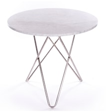 Dining O-table - Vit marmor, krom underrede