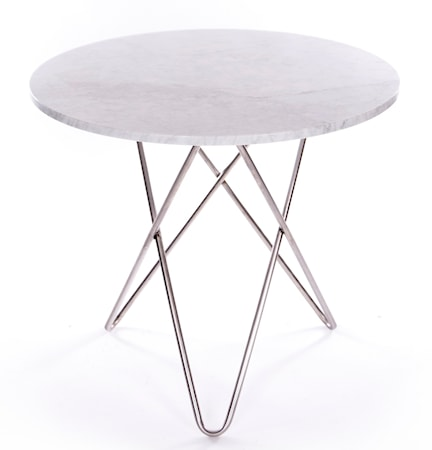 OX DENMARQ Dining O-table - Vit marmor, krom underrede