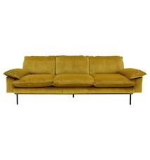 Retro Sofa Fløjl 4-pers Gul/Orange