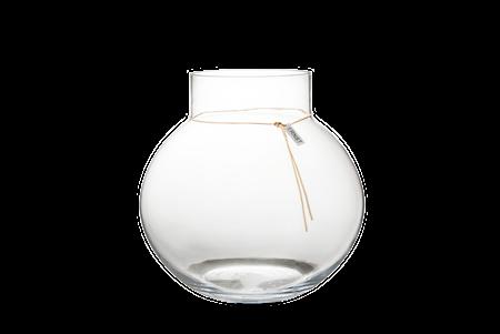Rund glasvas med läderband - 29 cm
