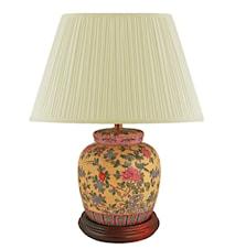 Lampfot 17,5cm Röda Pioner på gul botten