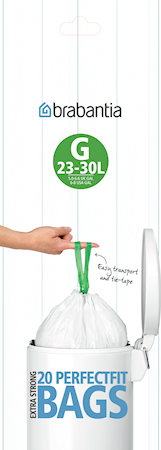 Avfallspåsar G, 23-30Ltr [Dispenser Pack med 40 påsar] White