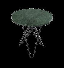 Tall Mini O Sidebord Grønn Marmor med Svart Ramme Ø50