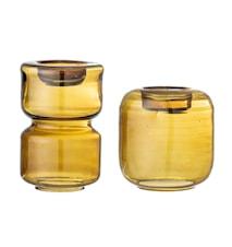 Lou Fyrfadsholder Brun Glas 2-pak