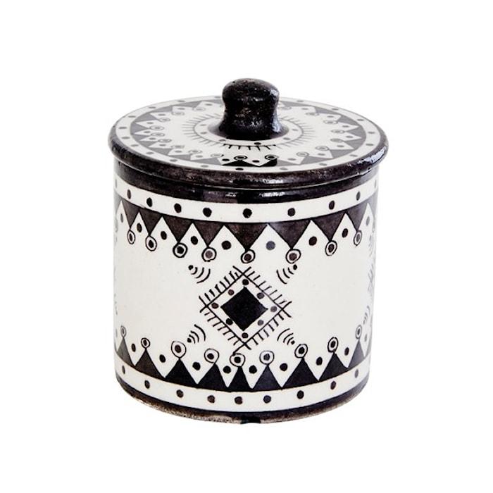 Day home Pavillion Handmålad bomulls burk Jaipur Porslin 9,5 x 10 cm  Svart/Vit