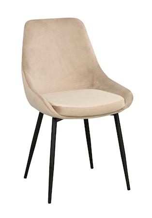 Sierra stol beige sammet/svarta metall ben