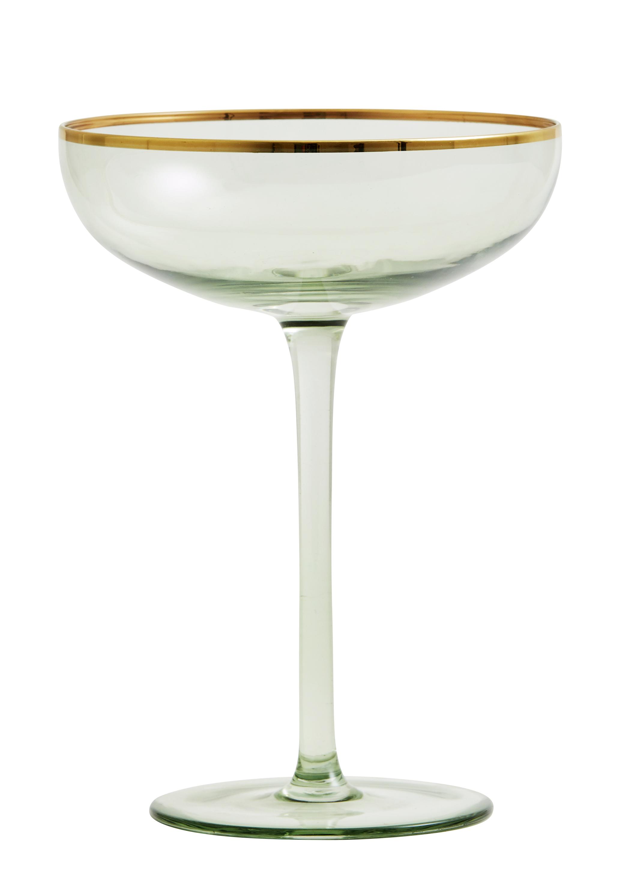 Greena Cocktailglas med guld detalj