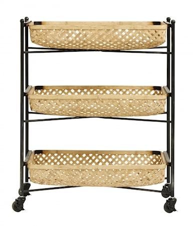 BAMBOO trolley w/metal rack