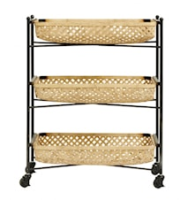 BAMBOO trolley w/metal rack