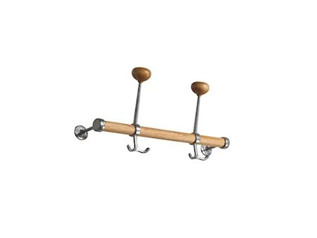 Gustav ek/aluminium hattkroklist L=400 mm/2 krok