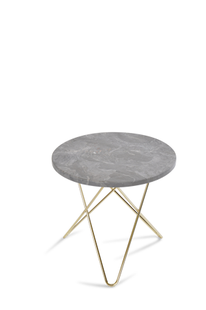 Mini O Table Grå Marmor med Mässingram Ø40