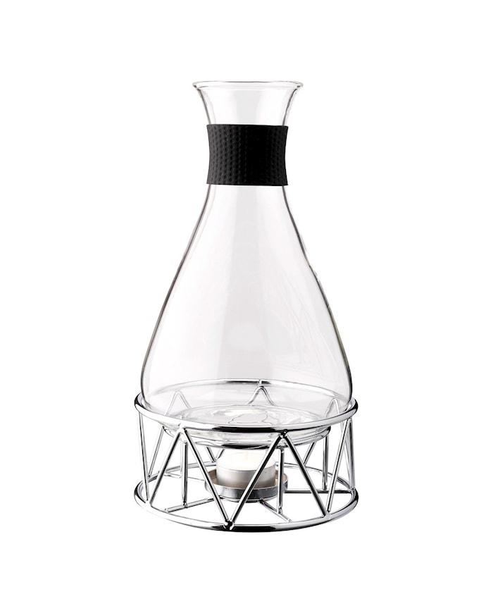 Glöggkaraff glas med kromad ställning 1 L