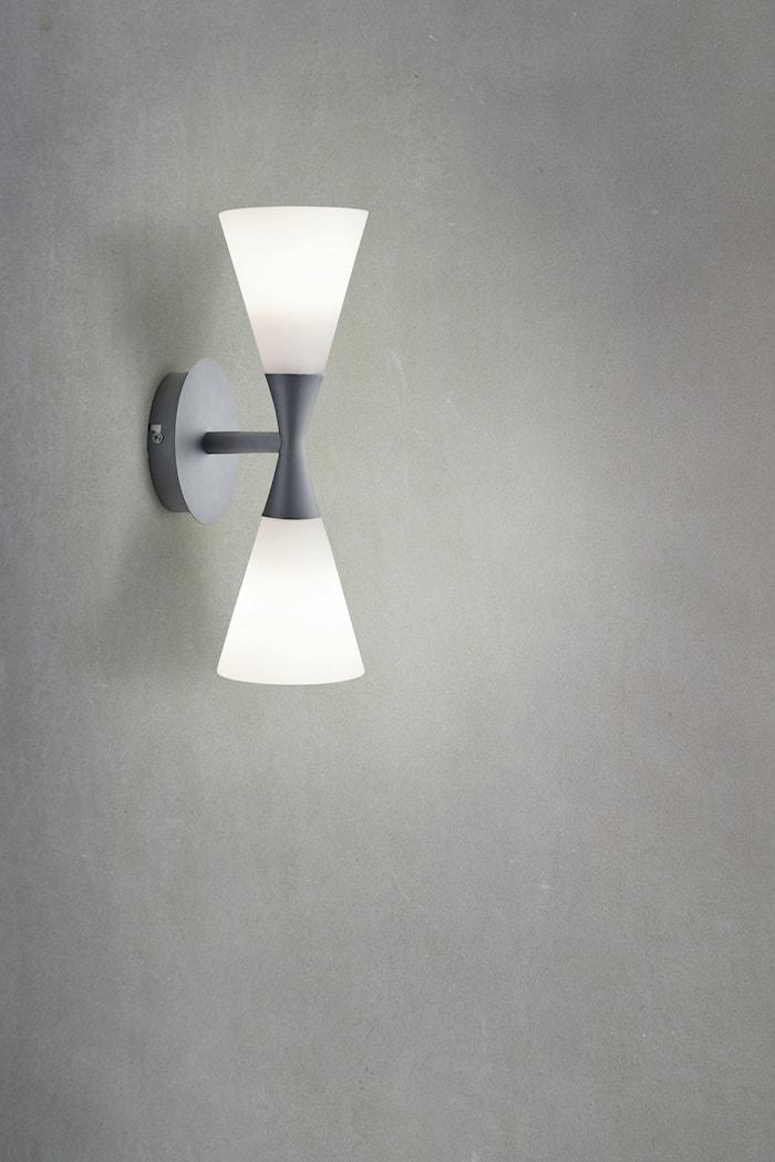 Harlekin Duo vegglampe grafitt grå/hvit E14