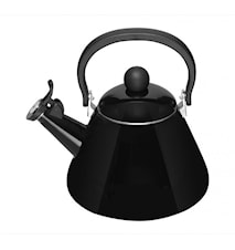 Kone water kettle with whistle enamelled steel Black