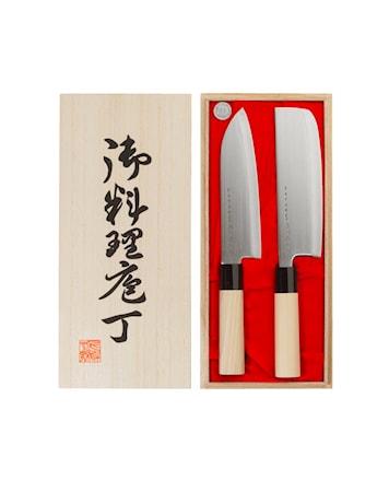 Knivsett grønnsakshakk & santoku i balsaboks