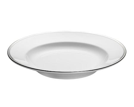 Bistro pastatallerken dyb hvid/sølv