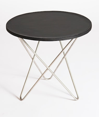 OX DENMARQ Mini o-table leather sidobord ? Black/stainless