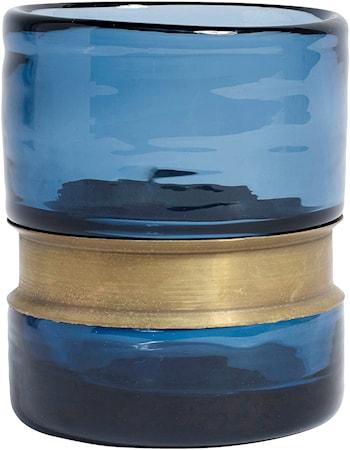RING Vas/Ljuslykta Glas Blå