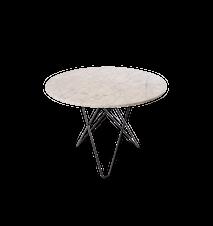 Large O Table Hvit Marmor med Svart Ramme Ø100