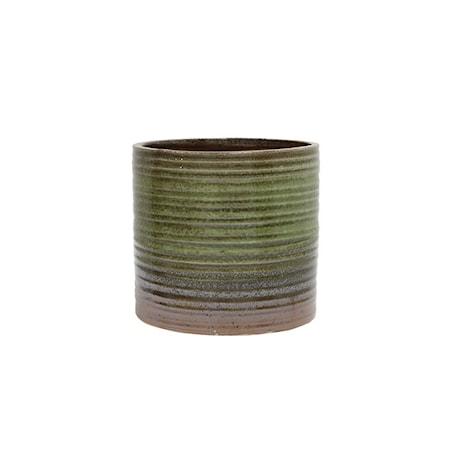 Blomsterpotte Keramikk Grønn og Brun 12,5 cm