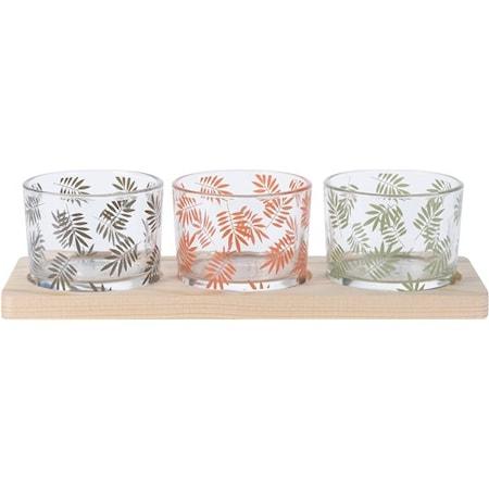 Skål 3-pack med bricka Glas
