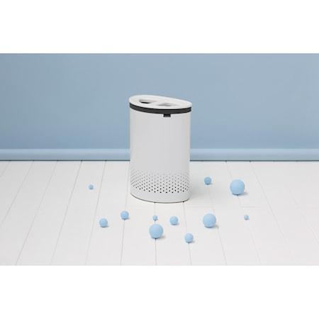 Vaskekurv med 2 lommer / med hvid plastlåg 55 L Hvid