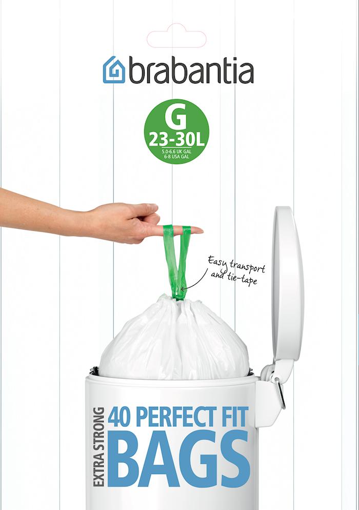 Avfallspåsar H, 40/50/60Ltr [Dispenser Pack med 30 påsar] White