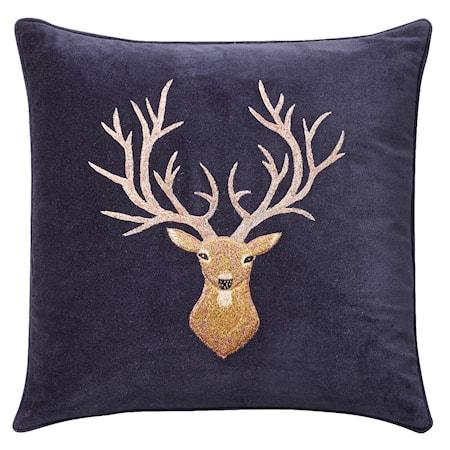 Reindeer Kuddfodral Sammet Navy 50x50 cm