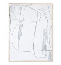 Framed Brutalism Painting White 120x160 cm