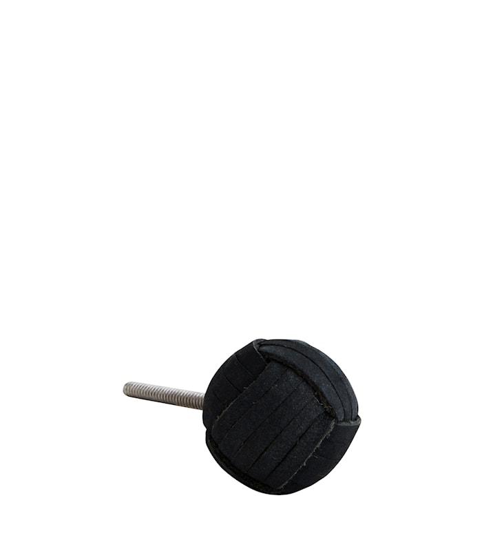 Knopp i läder Ø 3,5 cm - Svart