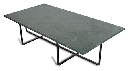 OX DENMARQ Ninety Table XL - Grön marmor/svartlackerad metallstomme H30 cm