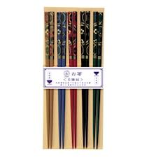 Kutani Spisepinde 5 par - m/japansk dekor