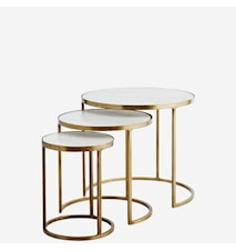 Three marble brass sofabord - Sett med 3
