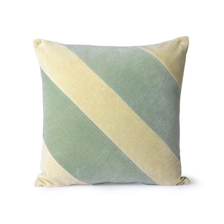 Striped Velvet Cushion mint/Green 45x45 cm