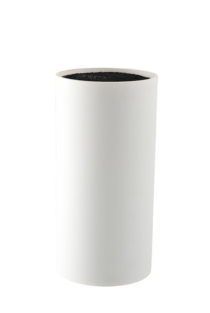 Knivblok hvid med børstet gummibelagt overflade højde 22,5 cm