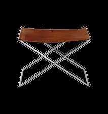 OX Pall Cognac Läder & Rostfritt Stål Ben