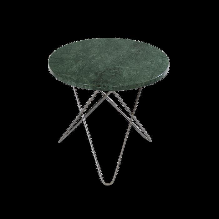 Mini O Sidobord Grön Marmor med Rostfri Stålram Ø40