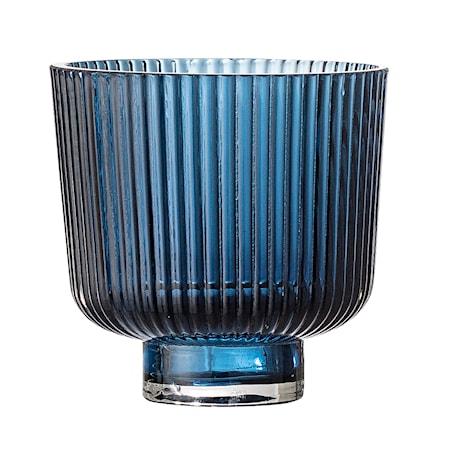 Lykt Blue Glass Ø9x8,5 cm