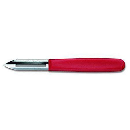 Couteau-économe à deux tranchants manche en nylon rouge
