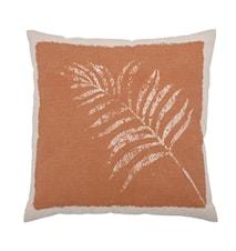 Coussin Dahlia marron avec feuille 45 x 45 cm