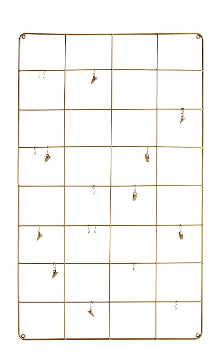 Vægdekoration med kroge 60x100 cm - Messing