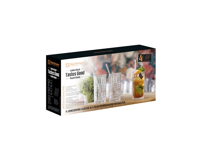 Feel Good Longdrinkglas  44,5 cl 4-pack + Sugrör